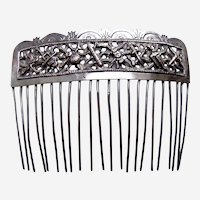 Chinese export hair comb silver tone hair accessory AAE