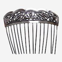 Chinese export hair comb silver tone hair accessory AAF