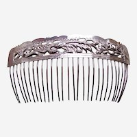 Chinese export hair comb silver tone hair accessory AAG