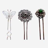 Three Chinese filigree hair combs novelty hair pin ornament AAB