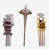 Three Chinese hair ornaments novelty hair pin ornament AAC