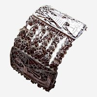 Egyptian Revival bracelet Art Deco silver tone metal