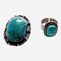 Egyptian Revival art glass scarab ring and brooch set Art Deco silver tone metal