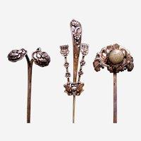 Three Chinese hair ornaments floral design hair pin ornament AAD