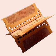 Unusual ethnic Indian folding vanity comb X shape hair accessory