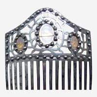 Regency cut steel hair comb grisaille cameos Regency hair ornament