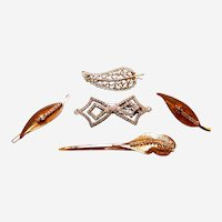 Five mid century Hollywood Regency hair barrette accessories