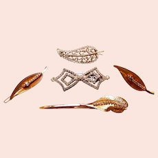 Five mid century Hollywood Regency hair barrette accessories