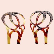Matched pair Edwardian rhinestone hair combs faux tortoiseshell hair ornament