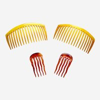 Four steer horn practical hair combs late Victorian hair accessory