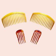 Four steer horn practical hair combs late Victorian hair accessory