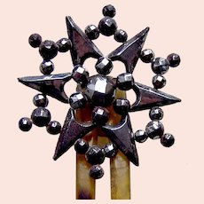 Victorian cut steel hair comb hinged with star shape hair ornament