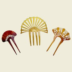 Three sunray design hair combs Art Deco period hair accessory