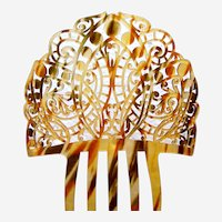 Art Deco hair comb celluloid faux tortoiseshell Spanish hair ornament