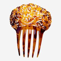 Victorian Spanish style hair comb faux tortoiseshell hair accessory