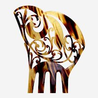 Art Nouveau hair ornament faux tortoiseshell asymmetric hair comb