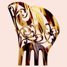 Art Nouveau hair ornament faux tortoiseshell asymmetric hair comb