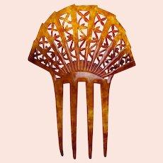 Art Deco faux tortoiseshell hair ornament sunray style comb