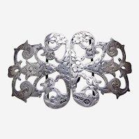 Two part pierced sterling silver belt buckle floral Art Nouveau 1902