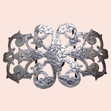 Two part pierced sterling silver belt buckle floral Art Nouveau 1902