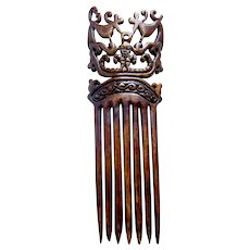 Carved wooden Tanimbar hair comb ethnic Indonesian hair accessory