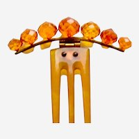 Victorian tiara style hair comb faceted amber balls hair ornament