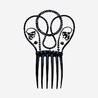 Victorian French jet mourning hair comb floral design hair accessory