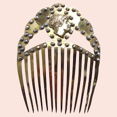 Rare Georgian cut steel hair comb with brass cameo hair ornament