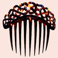 Victorian tortoiseshell hair comb classic cable design hair ornament
