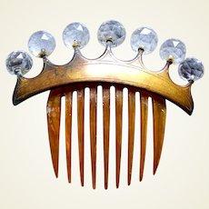 Mid Victorian tiara style hair comb crystal balls on spikes hair ornament