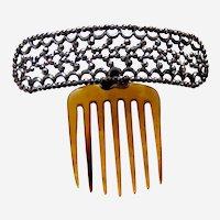 Classic mid Victorian hinged hair comb cut steel hair ornament