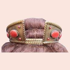 Art Deco medieval style tiara faux carnelian cabochons headdress