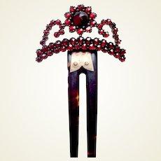 Bohemian garnet hinged hair ornament late Victorian hair comb