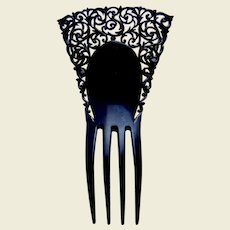 Auguste Bonaz signed hair comb black Art Deco lacy hair accessory