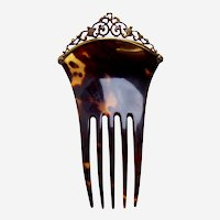 Late Victorian hair comb tortoiseshell sterling silver hair ornament