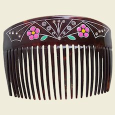 Late Victorian hair comb with hand painted decoration hair accessory