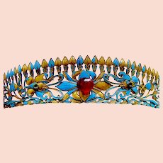 Chinese kingfisher feather tiara hair ornament headdress (AAE)