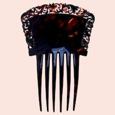 Victorian faux tortoiseshell Spanish hair comb pierced border hair accessory