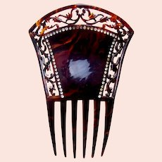 Victorian faux tortoiseshell Spanish hair comb rhinestone border hair accessory