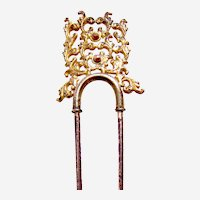 Late Victorian pierced brass hairpin or comb ornament
