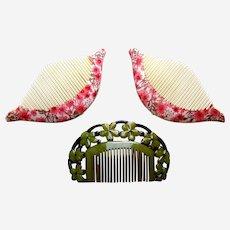 Three Art Deco celluloid side hair combs hair accessories