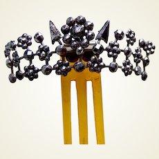 Victorian cut steel hair ornament hinged coronet comb headdress