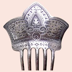 Late Victorian silver brite cut hair comb hair accessory 1898