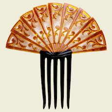Art Deco Spanish style hair comb amber celluloid hair accessory