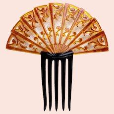 Art Deco Spanish style hair comb amber celluloid hair accessory