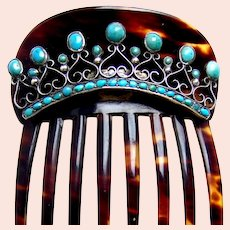 Victorian faux tortoiseshell hair comb turquoise filigree hair accessory