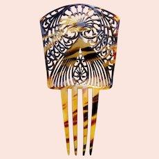 Art Deco Spanish style hair comb faux tortoiseshell hair accessory