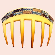 Art Deco celluloid hair comb with rhinestone trim hair accessory