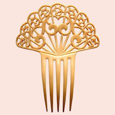 Art Deco cream celluloid hair comb scalloped design hair ornament
