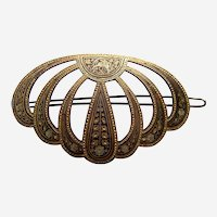 Vintage hair barrette Damascene metal hair slide accessory